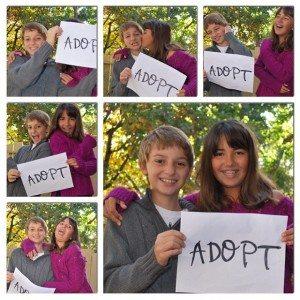 Photo collage of a girl and a boy holding Adopt sign